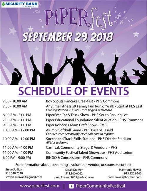 PiperFest Schedule of Events