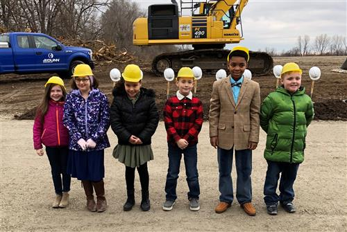 Student representatives at the groundbreaking ceremony