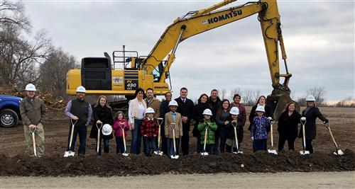 BOE, Students, and Families at the groundbreaking ceremony
