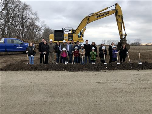 Members of the Vote Yes Committee attend the groundbreaking ceremony